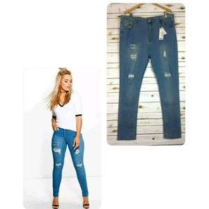 Boohoo Plus Size Robyn Rip Skinny Jeans Sz 20